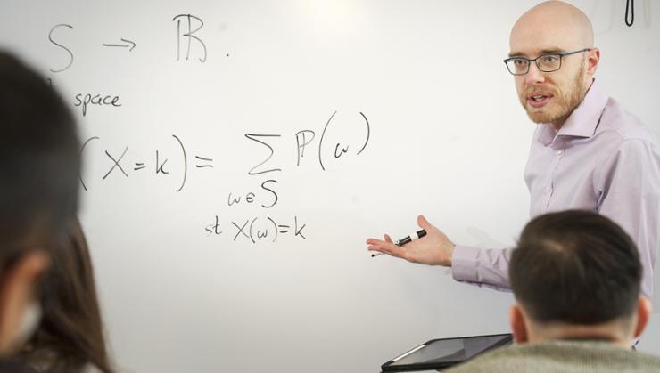 Assistant Professor of Mathematics and Statistics Clark Bowman teaches Math 352 (Mathematical Statistics).