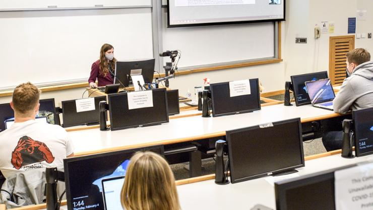 Heather Kropp, assistant professor of environmental studies, uses data science to teach in her interactive computer lab class in Kirner-Johnson.