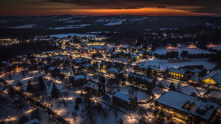Campus at sunset.