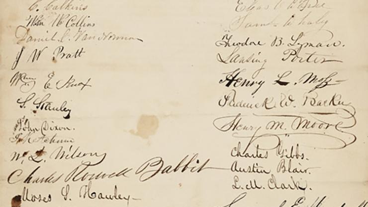 The petition, signed in 1837 by students of the Hamilton Anti-Slavery Society, is held in the National Archives and Records Administration.