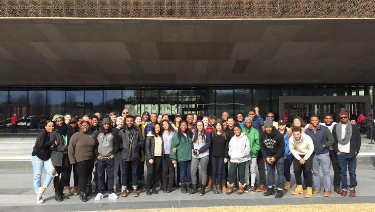 Hamilton students at the National Museum of African American History and Culture in Washington, D.C.