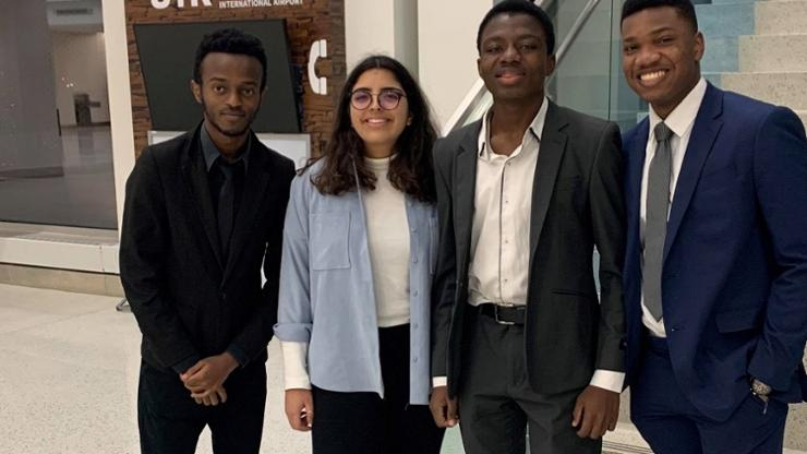 Representing Hamilton at the Harvard Africa Business Conference were (from left) Ian Nduhiu '22, Mariam Ben Slama (exchange student), Christopher Akuleme '23, and Ade Sotinwa '21.