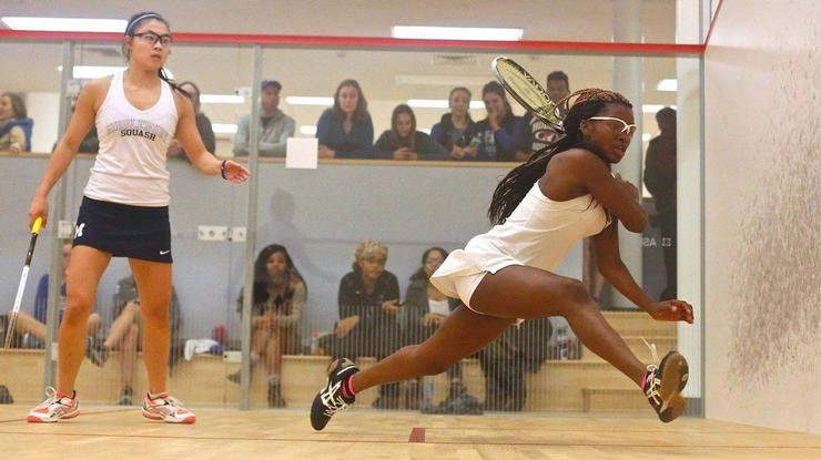 Rafiatou (Rafi) Ouro Aguy '18 (on the right) in a squash match on campus