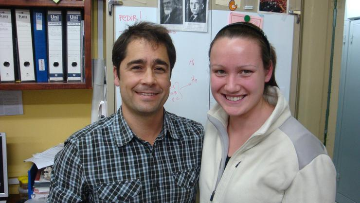 Theresa Allinger '11 with Cesar Megina at the University of Seville.