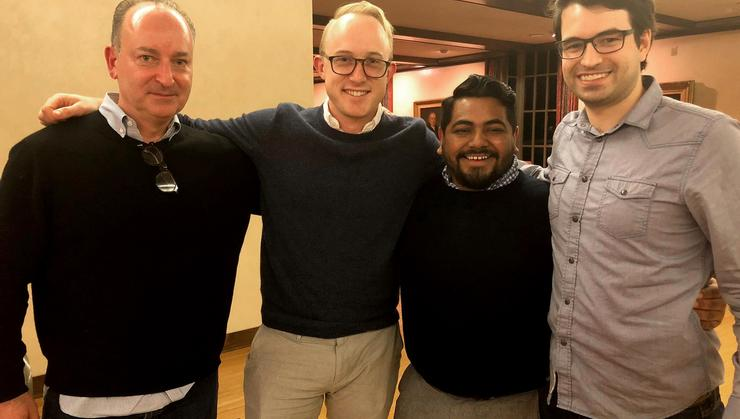From left, Taso Mouhteros '91, Cameron Gaylord '09, Emerson Sosa '10, and Sam McNerney '11.