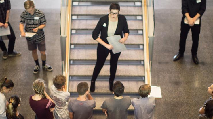 Amber Spadea addressing a visiting school group