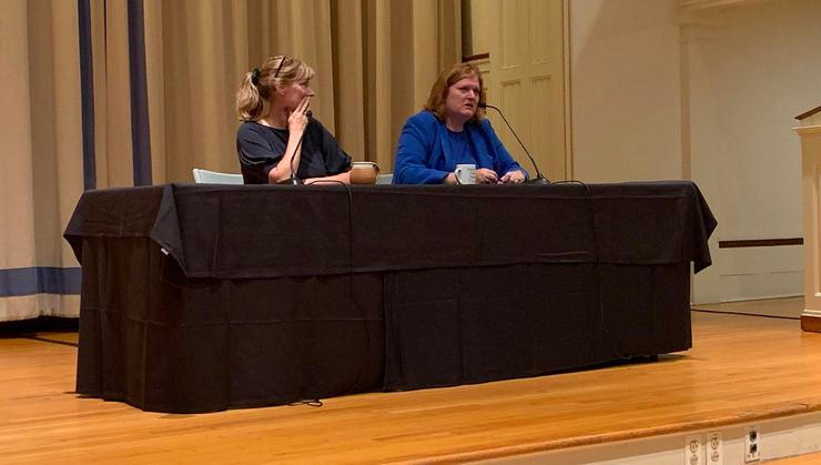 Shelly Callahan, executive director of The Center, and Anne Richard, the Sol M. Linowitz Professor of International Affairs, speak in the Chapel.