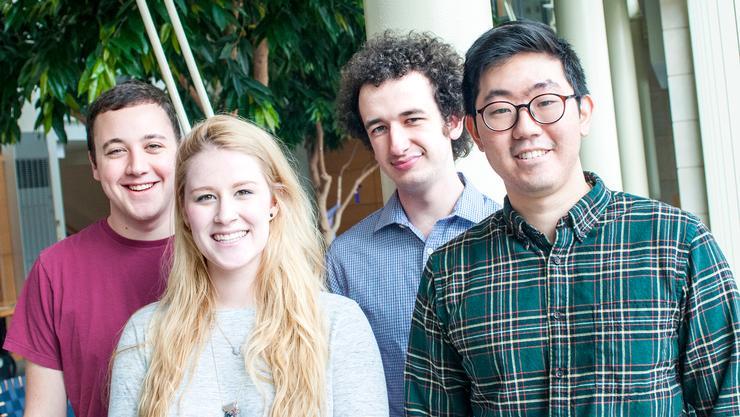 Hamilton App creators, from left, Sam Kotlov '16, Katherine Droppa '16, Noah Lowenthal '16 and Chris Lee '16.