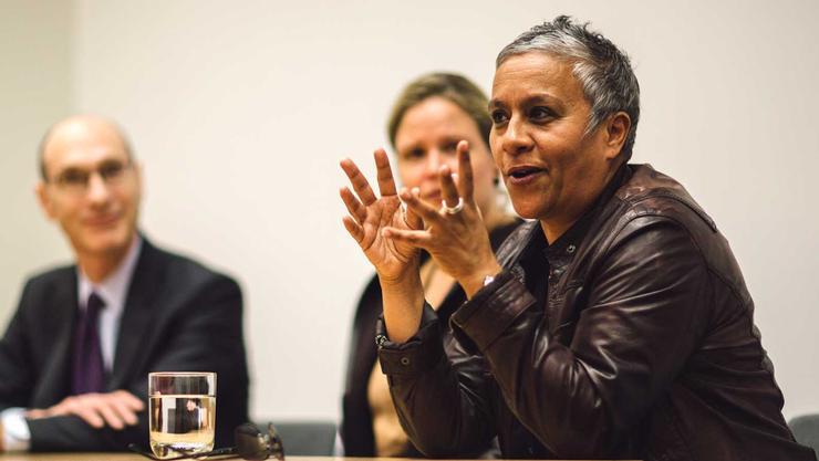 President David Wippman and Senses of Time curator Karen Milbourne listen to artist Berni Searle discuss her work.