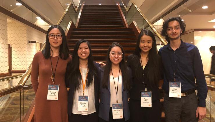 Sophia Wang '19, Michelle Chung '20, Kimberly Ly '20, Ngoc Ngo '20, Ishan Mainali '21 at the Ashoka U. Exchange