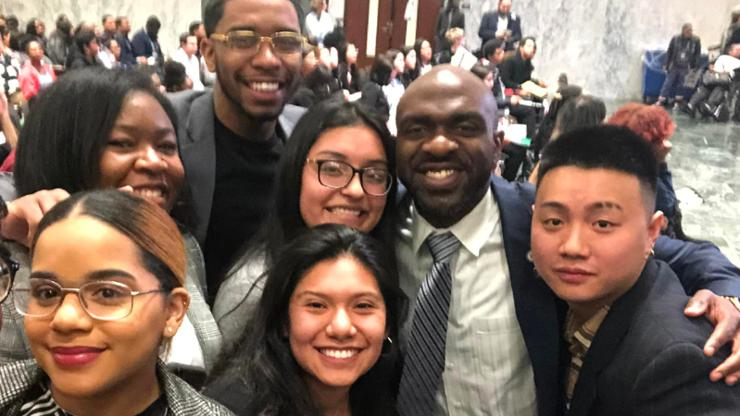 Assemblyman Michael Blake meets with CICU student cabinet members, including Anyi Rescalvo '22 (bottom center)