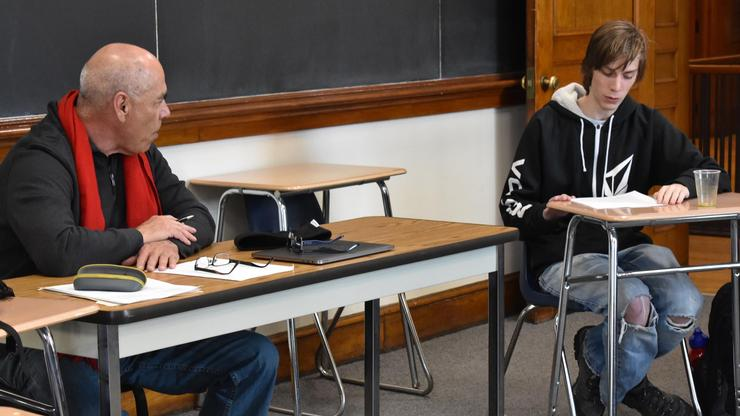 Poet Jimmy Santiago Baca, left, held a master class in writing with students.