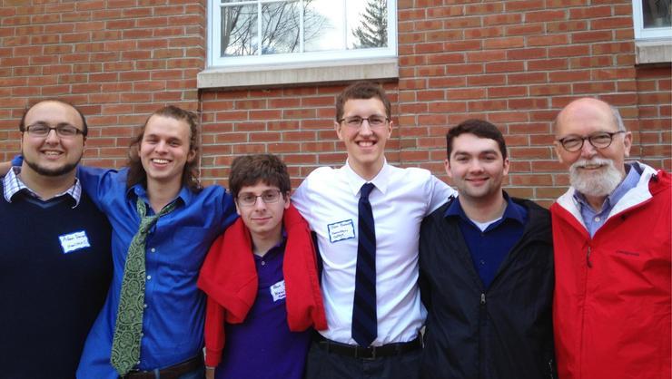 From left: Adam Daniere '16, Kenny Ratliff '16, Ben Oltsik '19, John Bennett '16, James Vees '16 and Prof. Richard Bedient.