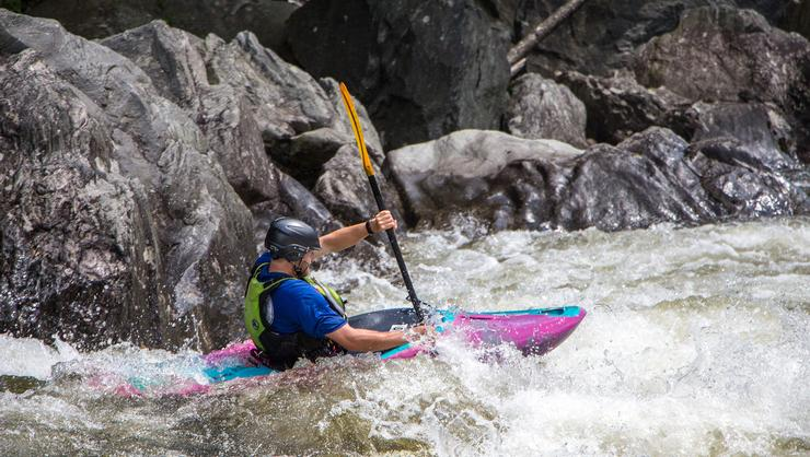 Sam Bernstein '17 paddling in the Zoar Gap rapid on the Deerfield River.