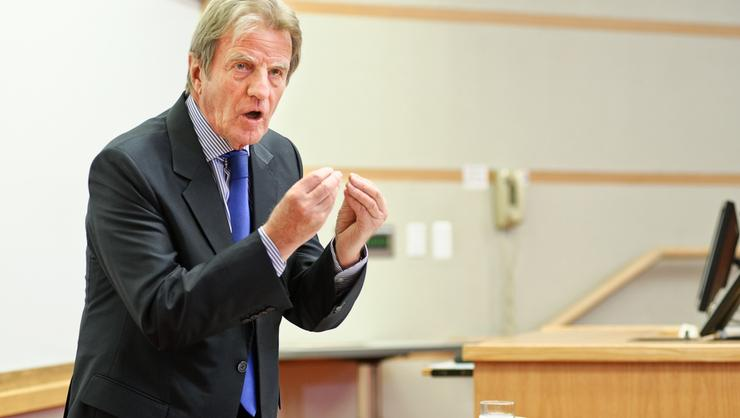 Dr. Bernard Kouchner talks with Hamilton classes before the Great Names panel discussion.