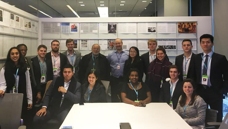 Students on the New York City program toured Bloomberg with Scott Havens '95.