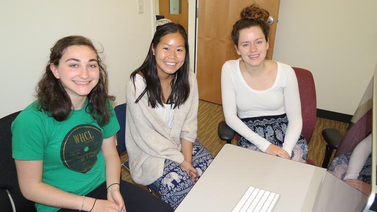 From left, Jaclyn Zingman '18, Barbara Singhakiat '17, Leah Pranschke '17