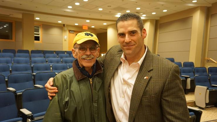 Samuel Bowlby '04, right, with Paul Adey a former member of Hamilton's football coaching staff, at the annual Josiah Bunting III Veteran's Day lecture.