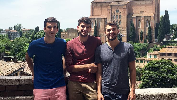 From left, in Siena, Italy, are Cameron DiGiovanni '20, Jacob Colangelo '20, and his brother, Zach.