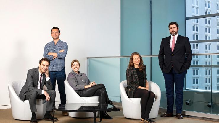 Hamiltonians at Sotheby's in New York (from left): Kunter Kula '11, Max Freedman '17, Charlotte Van Dercook '14, Halina Loft '15, and Chip Bent '06.