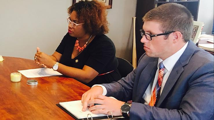 Brendan Cunningham '15, right, with Assemblywoman Kimberly Jean-Pierre.