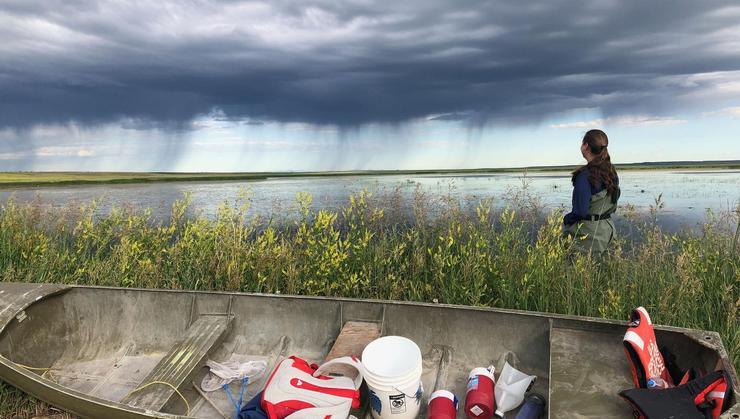 Brigit Humphreys '21 at Benton Lake National Wildlife Refuge in Montana.