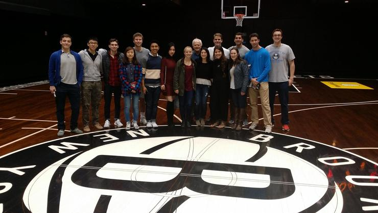 Program in New York students on the NBA's Brooklyn Nets court.
