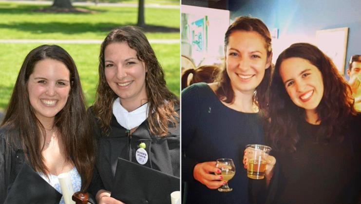 Danielle Burby '12 and Jordyn Taylor '12, then and now.
