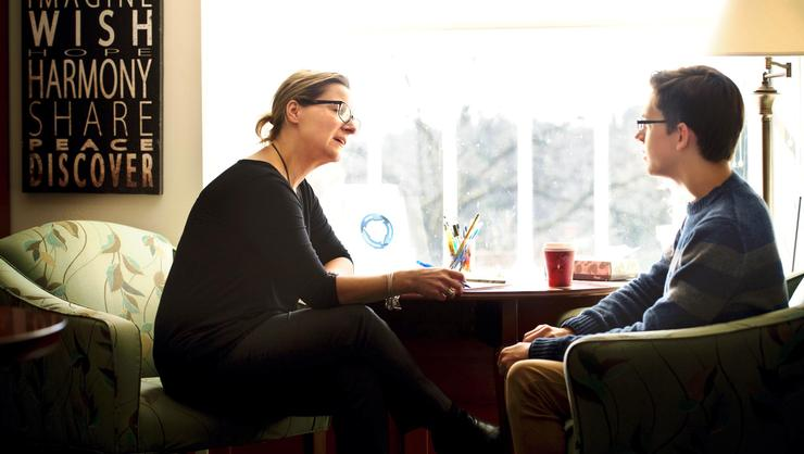 A student seeks advice from the Career Center's Heather Wixson.