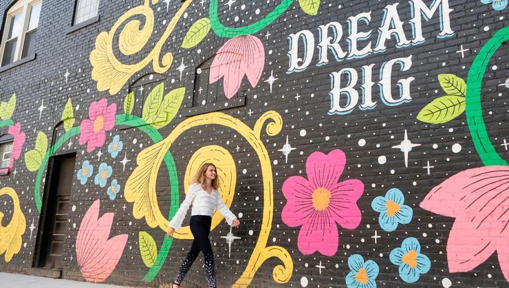 Caroline Washington '21 strolls through the Gordon Square Arts District in Cleveland.