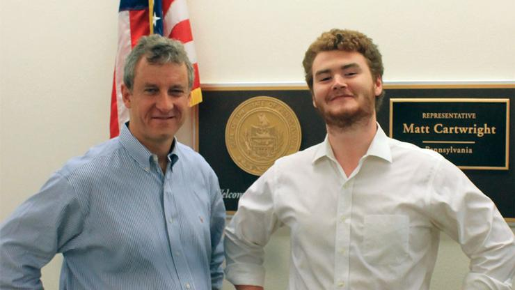 Matt Cartwright '83 and Max Flath '17 at the congressman's DC office last summer.