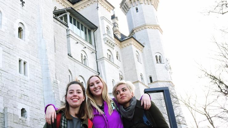 Allison Zuckerman '18, left, with two friends in front of Neuschwanstein Castle in Germany.