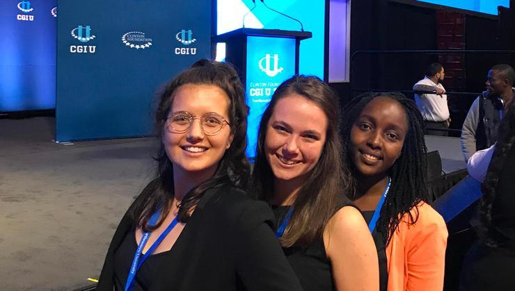 KT Glusac '17, Emily DeJong '19, and Risper Kirui '19 at the 10th annual Clinton Global Initiative University,