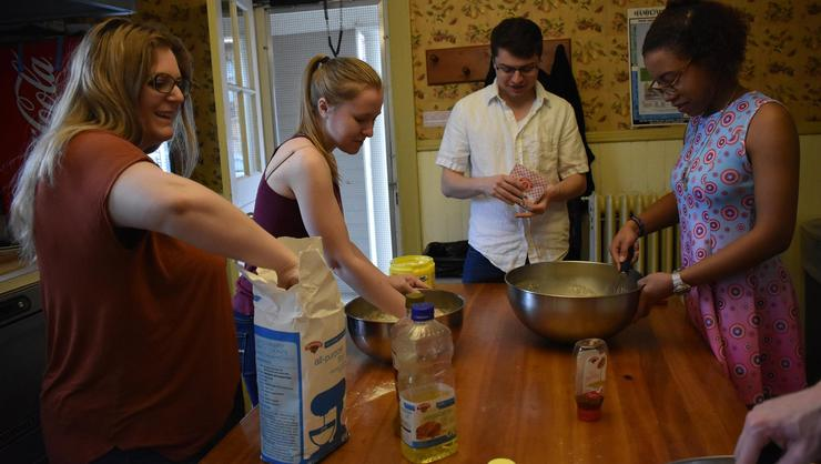 Making challah bread, from left Reina Weinstock '17, Emily Granoff '18, Jason Fortunato '17 and Xan Mullings '20.
