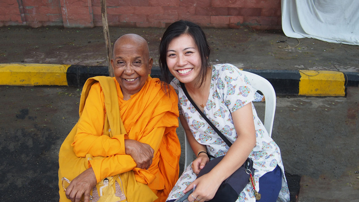 Joyce Chan '16, right, and a woman who is a bhikkuni, which Chan says means female monk, in Nagpur, India.