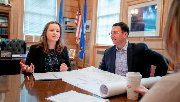 Christine Walsh '21 spent nearly two months serving as assistant mayor in her hometown of Milford, Conn. At right is Benjamin Blake, mayor of Milford.