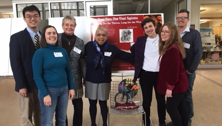 From left: Jaeho Lee '18; Professors Anne Feltovich, Barbara Gold, and Shelley Haley; Theo Golden '20; Tina Naston '20; and Professor Jesse Weiner.