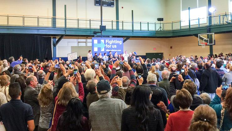 Crowds of voters try to get a photo of Bill Clinton at a rally in New Hampshire.