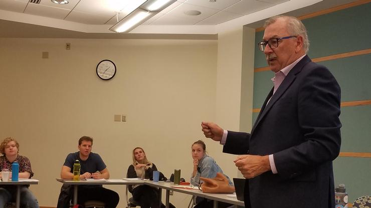 "Former FBI agent John Cloonan speaks in Associate Professor of Government Gbemende Johnson's class ""Government Failure?: The American Administrative State."""