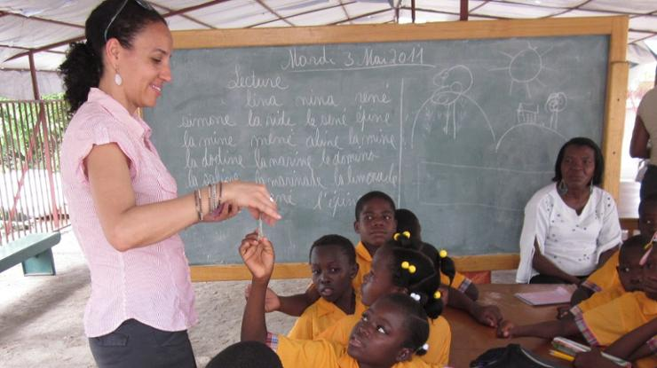 Jacqueline Fabius '95 at the school she helped found in Haiti.