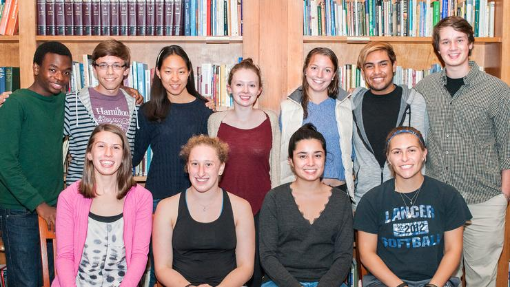First-year CSIs. Bottom from left: Maggie Horne, Jackie Bussgang, Maria Saenz and Jodi Weiss. Top: Pascal Defines, Jerad McMickle, Claire Han, Meredith Jones, Sarah Kane, Andres Aguilar and Jack Wright.