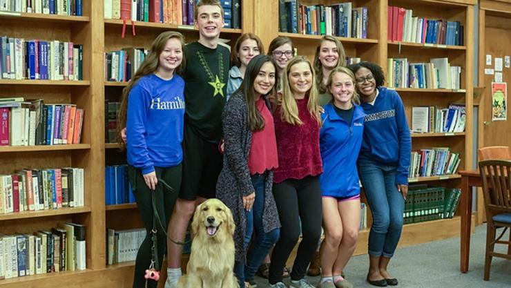 2017 COOP Service Interns. Front: Percy the dog, Diana Perez, Amy Harff, Avery Cook, Savannah Kelly. Back: Claire Nakazawa, Jack Scacco, Adriana Mullin, Juliana DeSimone, Claire McCaslin.