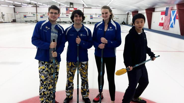 Representing Hamilton at the USA College Curling Championships are from left, Alex Hirsu '17, Andrew Fletcher '17, Jess Weston '17, and John Zhang '19.