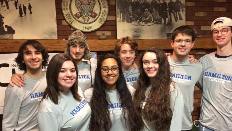Hamilton's Curling team, front row from left: Nelly Green '18, Sarah Hossain '18, and Megan Baumgartner '20. Back: Andrew Fletcher '17, David Gagnidze '20, Ryan Wall '20, Alex Hirsu '17, and Jack Kelly '20.