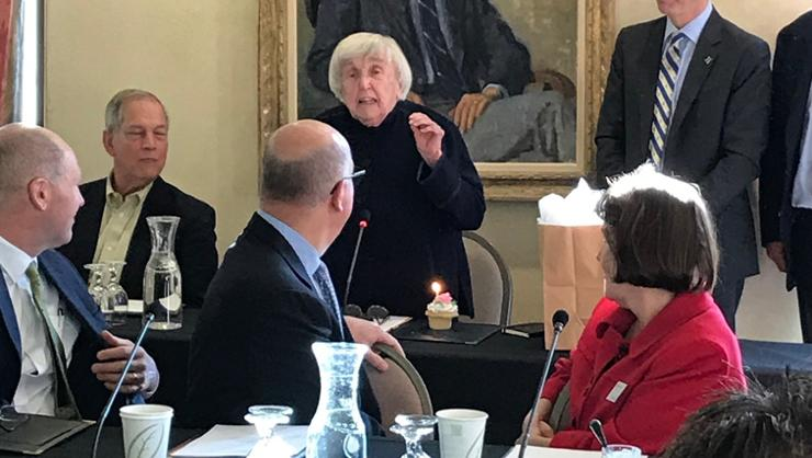 Trustee Elizabeth McCormack speaking in Dwight Lounge at her 90th birthday celebration.