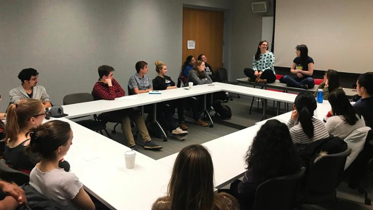 Brittany Tomkin '12 and Sarah Kane '12 give advice to students at their Connect to Careers in Theatre talk.