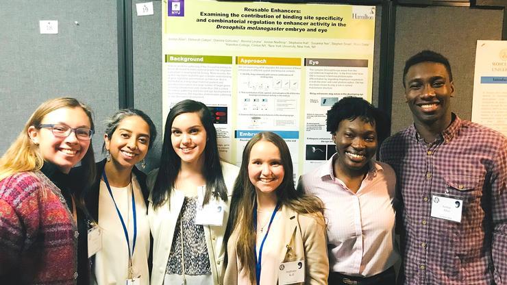From left: Rimma Levina (NYU), Professor Rhea Datta, and seniors Daniela Gonzalez, Stephanie Kall, Deborah Gakpo, and Jordan Allen.