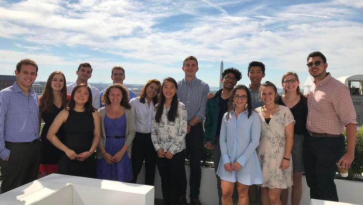 Hamilton students on the Washington, D.C., program with Niels Lesniewski '07 at Roll Call.