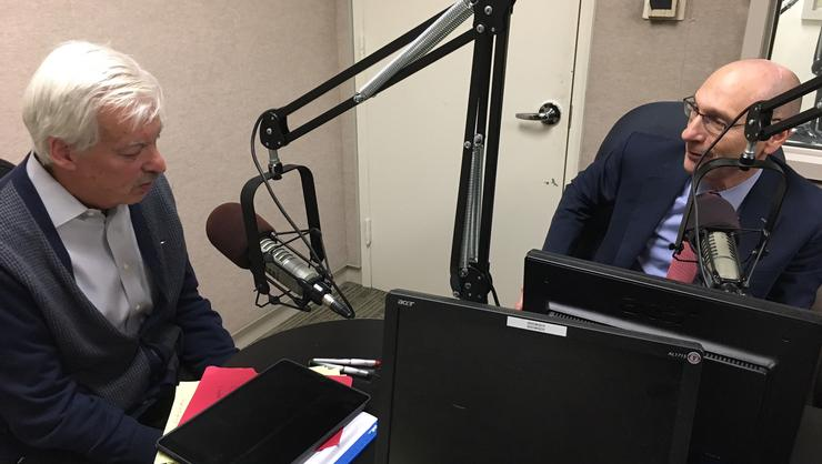 Business of Giving Host Denver Frederick and President David Wippman during their interview