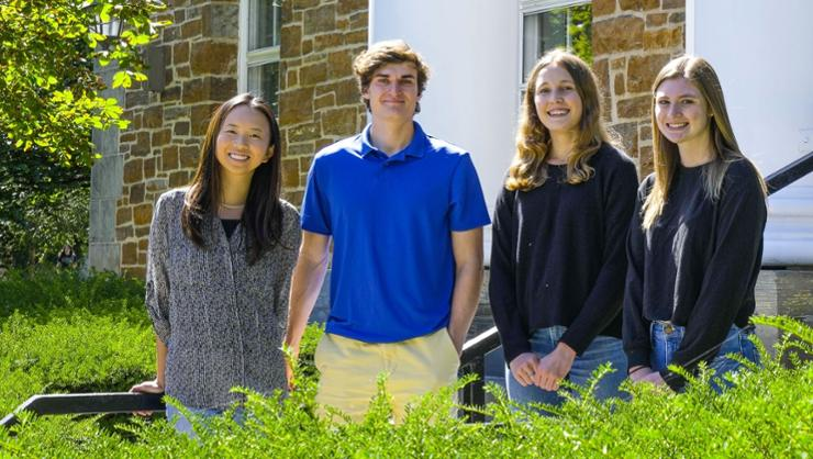 Members of the Class of '22 who have received job offers from Deutsche Bank, from left, Lily Qiu, Quinlan Crowley, Morgan Hartranft, and Jennifer Fleming.